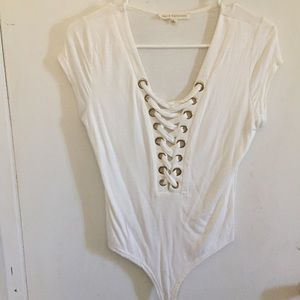 Tops - White Criss-Cross Bodysuit 🔥